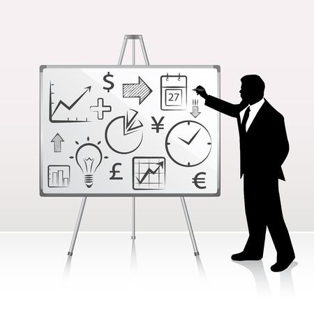 power point: whiteboard presentation with businessman
