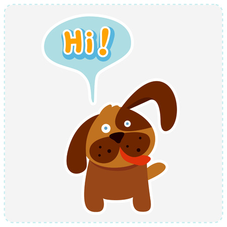 say hello: cute cartoon dog and a speaking bubble - vector illustration