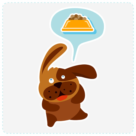 cute cartoon dog: cute cartoon dog is thinking food - vector illustration