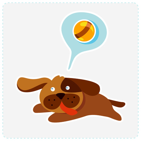 cute cartoon dog is running and playing - vector illustration Vector