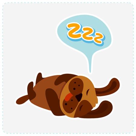 cute cartoon dog: cute cartoon dog is sleeping - vector illustration