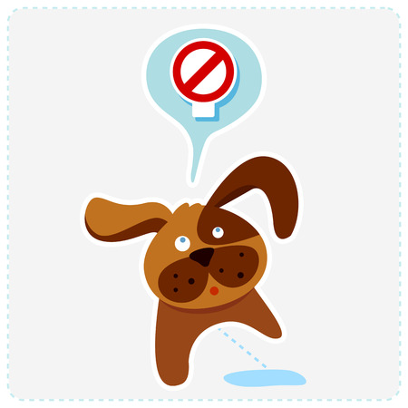 cute cartoon dog: cute cartoon dog with sign icon - vector illustration