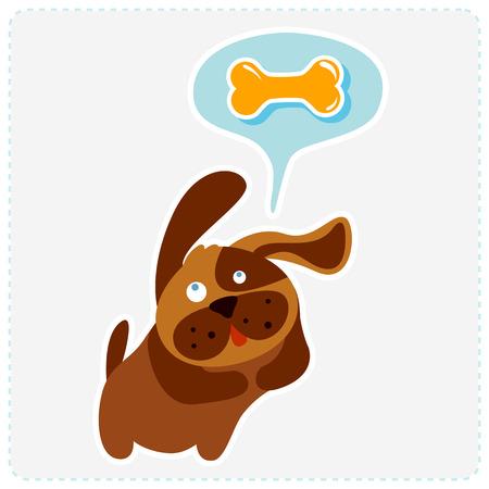 dog bone: cute cartoon dog is thinking bone - vector illustration