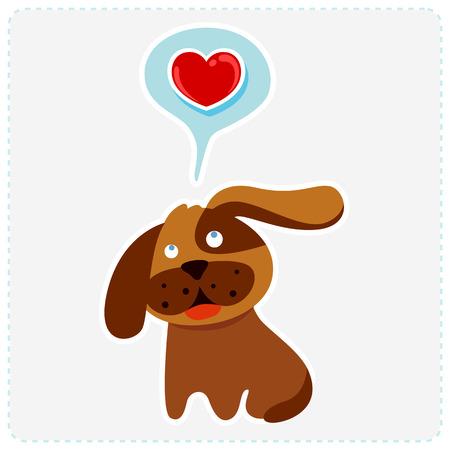 cute cartoon dog: cute cartoon dog is thinking to love - vector illustration