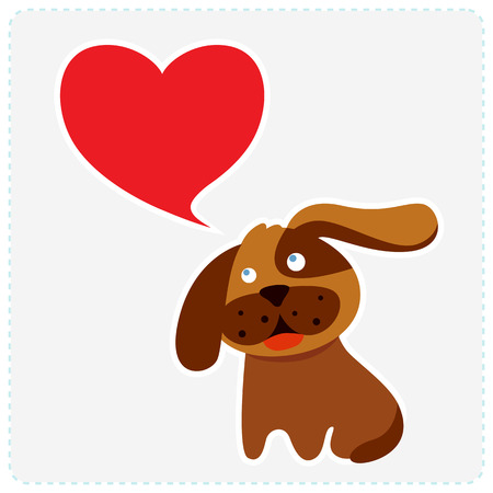 Cute dog with heart  Place for your text  Vector Vector