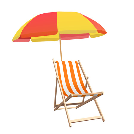 reclining chair: Chair and beach umbrella vector