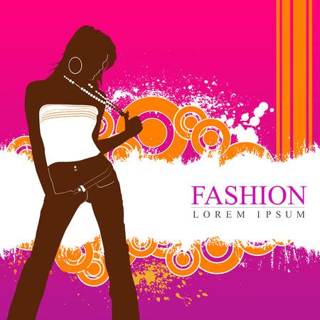 Elegant fashion model with retro grunge background Vector