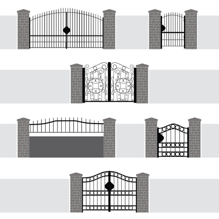 verschnörkelt: Eingang Tor Tür Zaun Garten Illustration