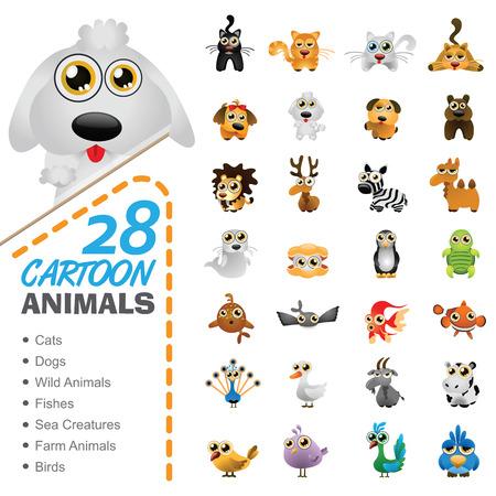 sea animals: Big set of various cartoon animals and birds