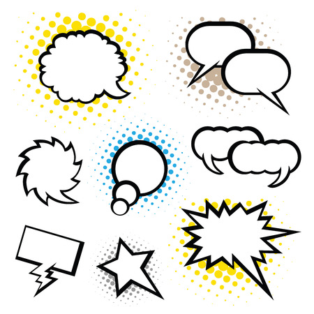 caption: Set of speech bubble, Pop Art style Illustration