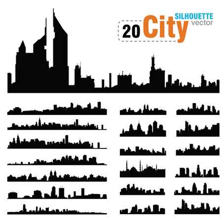 city skyline night: Vector silhouettes of the worlds city skylines