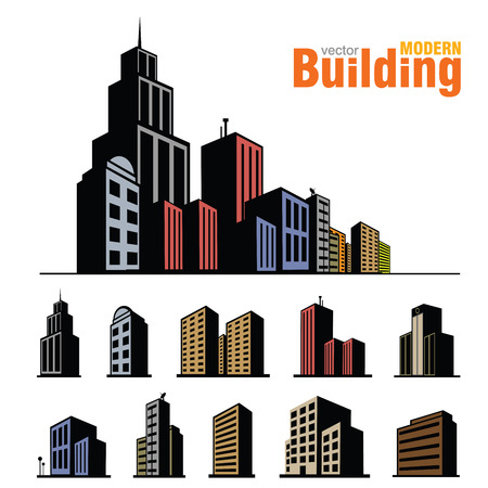 modern residential building: Vector buildings set Illustration