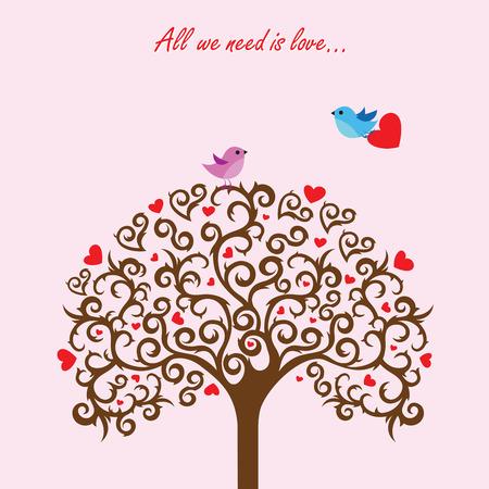 love tree: Love tree and birds in love