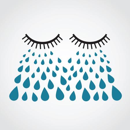 occhi tristi: piangendo. vettore