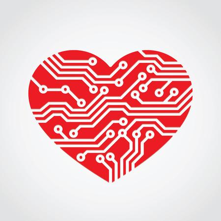 computer art: heart love  technology concept design