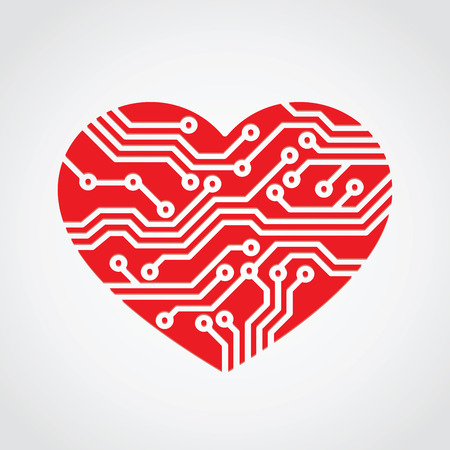 heart love  technology concept design
