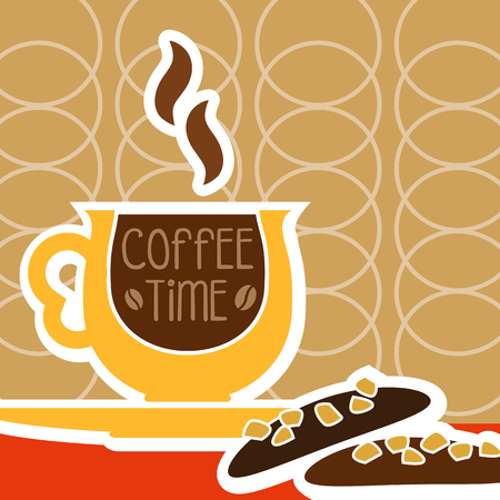 background coffee: illustration of isolated a cup of coffee and sweet