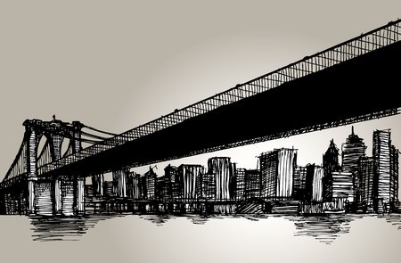 beach panorama: New York Brooklyn Bridge Hand Drawing Vector Illustration