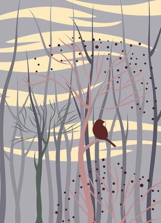 tree branch: bird in forest, vector illustration Illustration