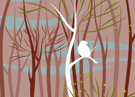 forest landscape: bird in forest, vector illustration Illustration