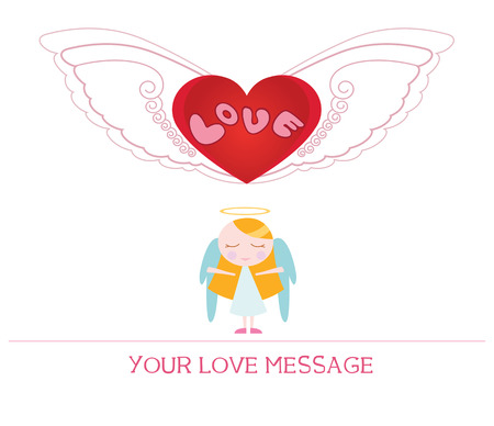 woman in love: cute cartoon illustration of young angel woman in love, love card.