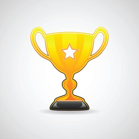 Golden champion trophy cup. Vector illustration