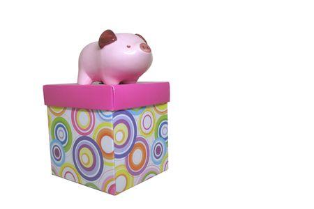 Piggy Bank on Gift Box Banco de Imagens