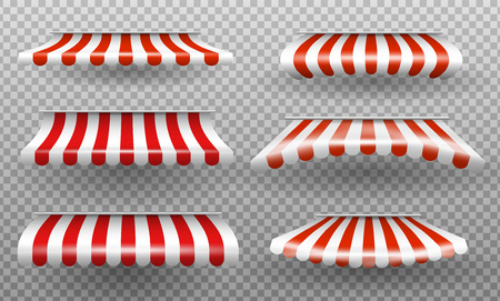 Red and white sunshade. Outdoor vector window and shop window isolated vector set. Sunshade for market or store. Vector illustration set.