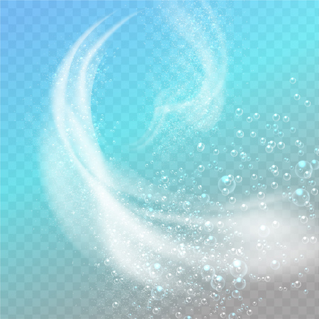 Abstract white foam. Effect of spray, whirlwind and blizzard on transparent background. Dynamic 3d elements for design of washing detergents Illustration