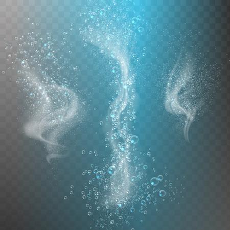 Blue underwater fizzing air bubbles Fizzy sparkles in water, sea, aquarium, ocean. Soda pop. Undersea vector texture.