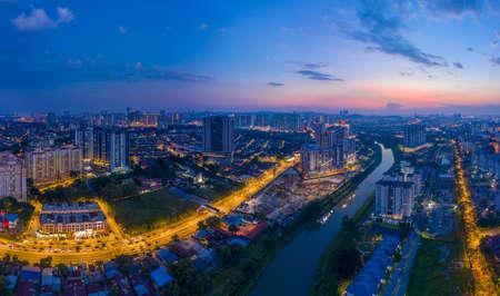 Aerial Panorama of Kuala Lumpur,Malaysia(Old Klang Road). Drone Shot. River of live