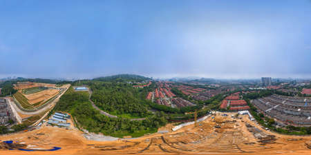 Aerial panorama cityscape of Kuala Lumpur,Malaysia(Alam Damai). Drone Shot. Full VR 360 degree. Rainforest with residential area and shoplot