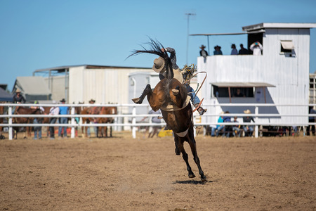 Cowboy riding a bucking horse in bareback bronc event at a country rodeo.