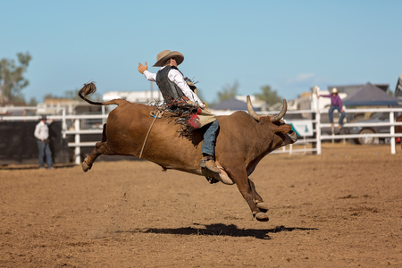 A cowboy competing in a bull riding event at a country rodeo Stock Photo