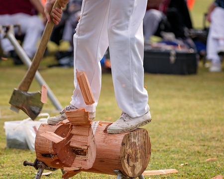 A wood chopping event at a country show