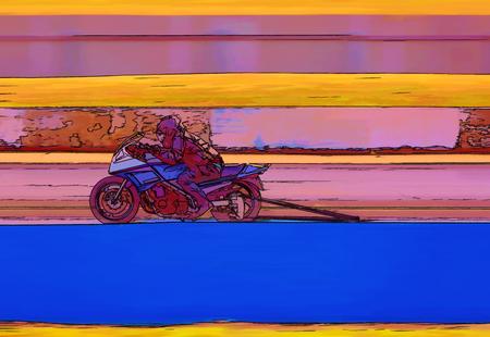 Computer generated cartoon drawing of a racing motor cycle