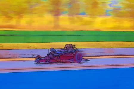 Computer generated cartoon drawing of a racing motor car Stock Photo