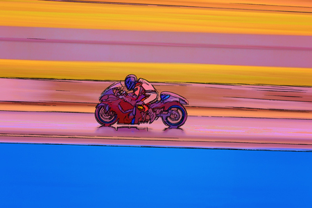 A computer generated cartoon drawing of a racing motor cycle