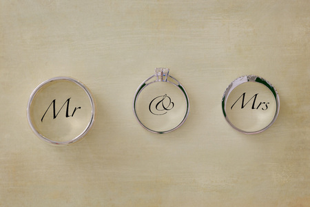 Wedding rings with text Mr & Mrs Stock Photo