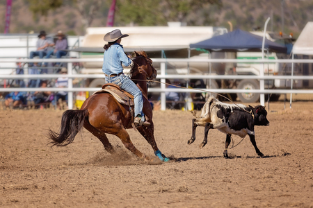 A cowgirl competing in a calf roping event at a country rodeo