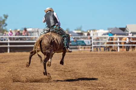 A cowboy riding a bucking bull in a rodeo competition