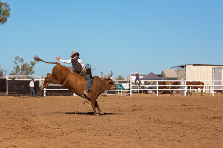 A cowboy competing in a bull riding event at an Australian country rodeo 免版税图像 - 104366356