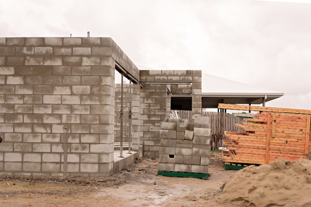 Residential house being constructed from concrete block in an Australian city suburb Imagens - 116224280