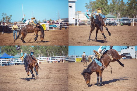 Collage of bareback bronc horses wildly bucking cowboys at a country rodeo