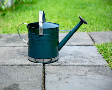 Green metal watering can on grey stone paving blocks in a garden