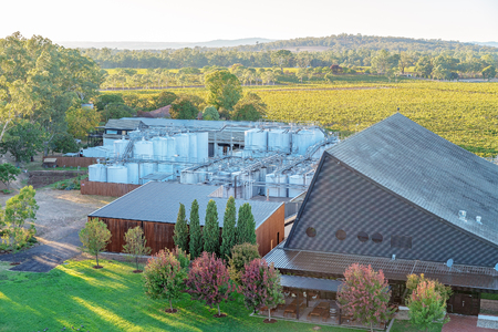 Wine making plant equipment and buildings at a rural vineyard and winery in Australia Reklamní fotografie