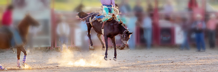 Bucking bronc horse riding competition entertainment at country rodeo Stock Photo
