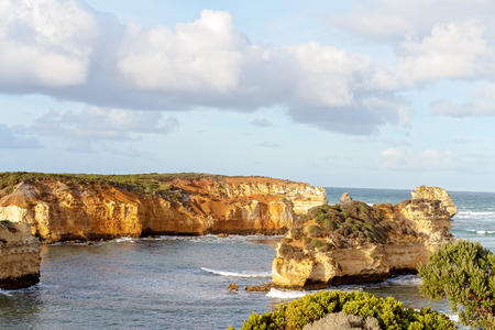 Beautiful coastal scenery with unusual rock formations on The Great Ocean Road in Victoria Australia