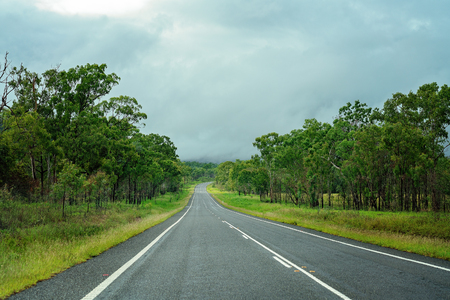 A long lonely straight bitumen road with trees on either side curves in the distance, a typical Australian highway