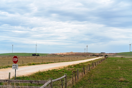 No public access signage to new generation Australian wind farm Stock fotó